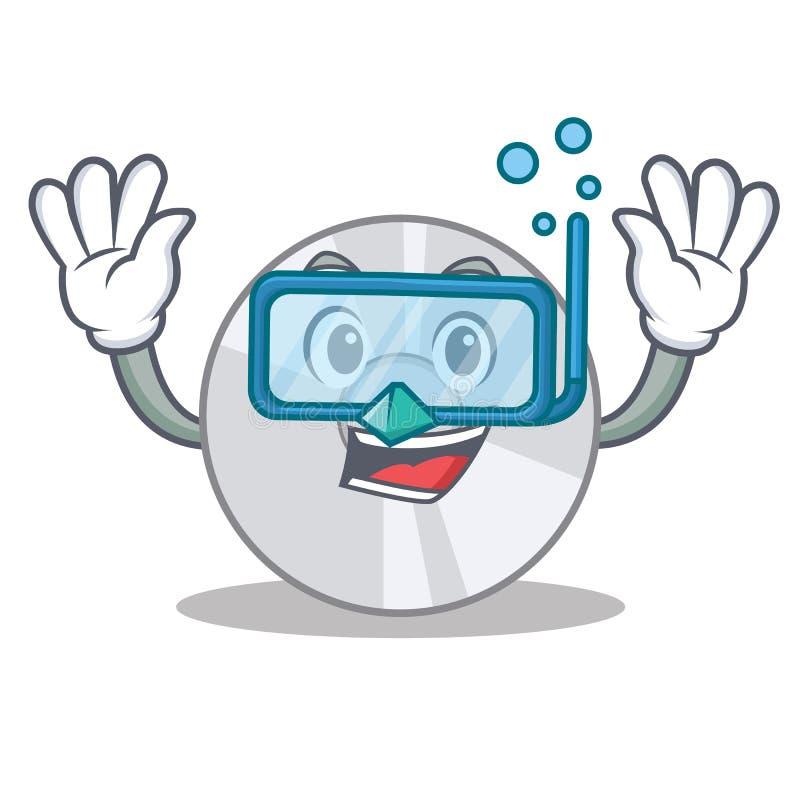 Estilo dos desenhos animados do caráter do CD do mergulho ilustração stock
