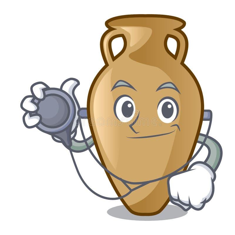 Estilo dos desenhos animados do caráter da ânfora do doutor ilustração stock