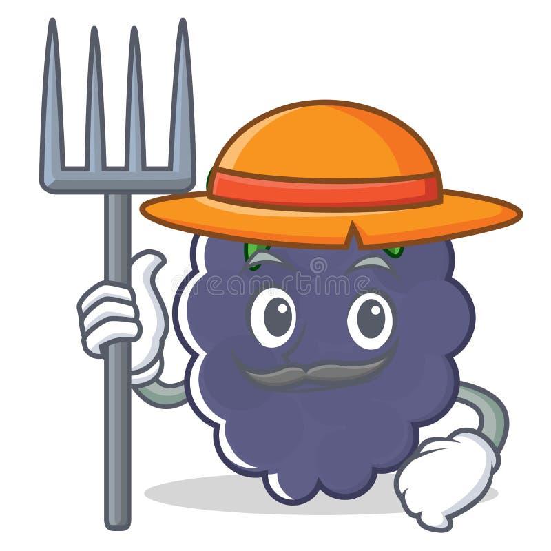 Estilo dos desenhos animados do caráter da amora-preta do fazendeiro ilustração royalty free