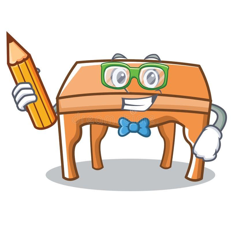 Estilo dos desenhos animados do caráter da tabela do estudante ilustração royalty free
