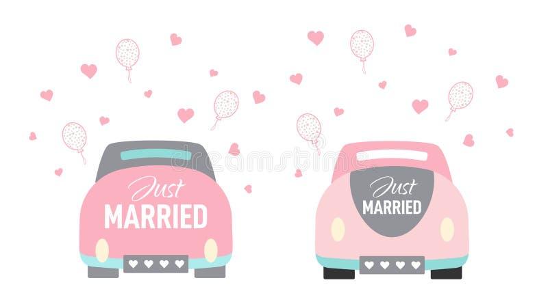 Estilo dos desenhos animados do carro do casamento do vetor apenas casado ilustração do vetor