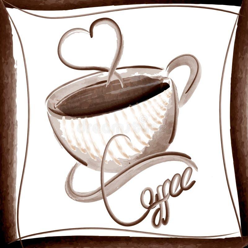 Estilo elegante de la acuarela del ejemplo del vector del café ilustración del vector