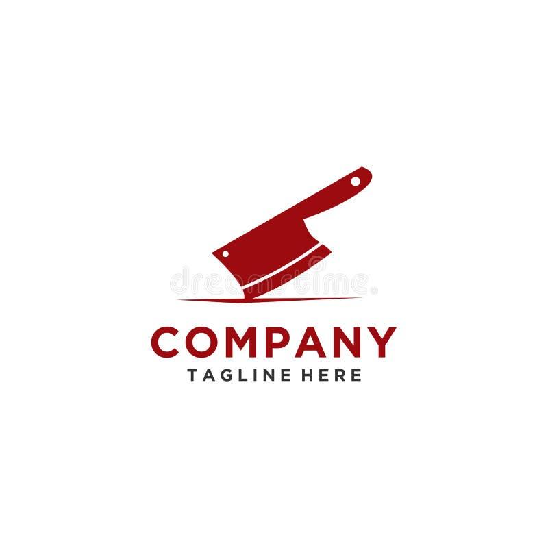 Estilo elegante del logotipo del cuchillo para el negocio de restaurante stock de ilustración