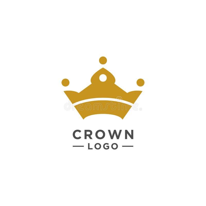 Estilo elegante del vector del diseño del logotipo de la corona stock de ilustración