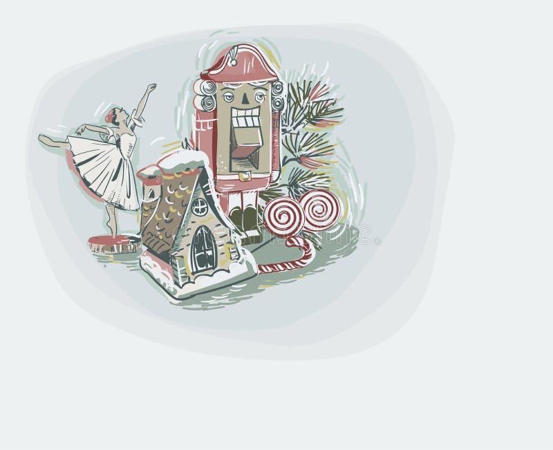 Estilo en colores pastel de la pintura del vector de la bailarina del cascanueces de los juguetes de tarjeta de Navidad del color stock de ilustración