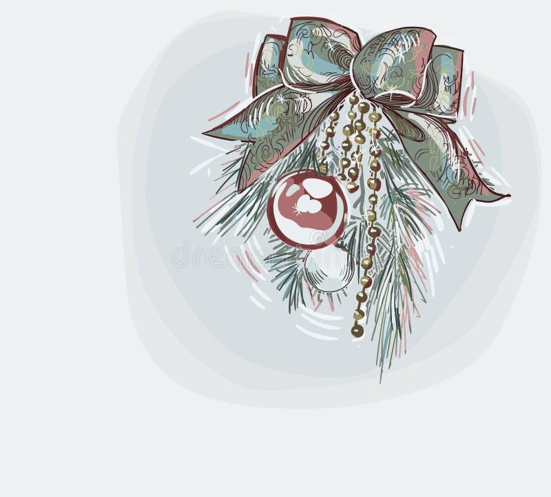 Estilo en colores pastel de la pintura del vector de la decoración de las bolas de la decoración de tarjeta de Navidad del color  fotos de archivo
