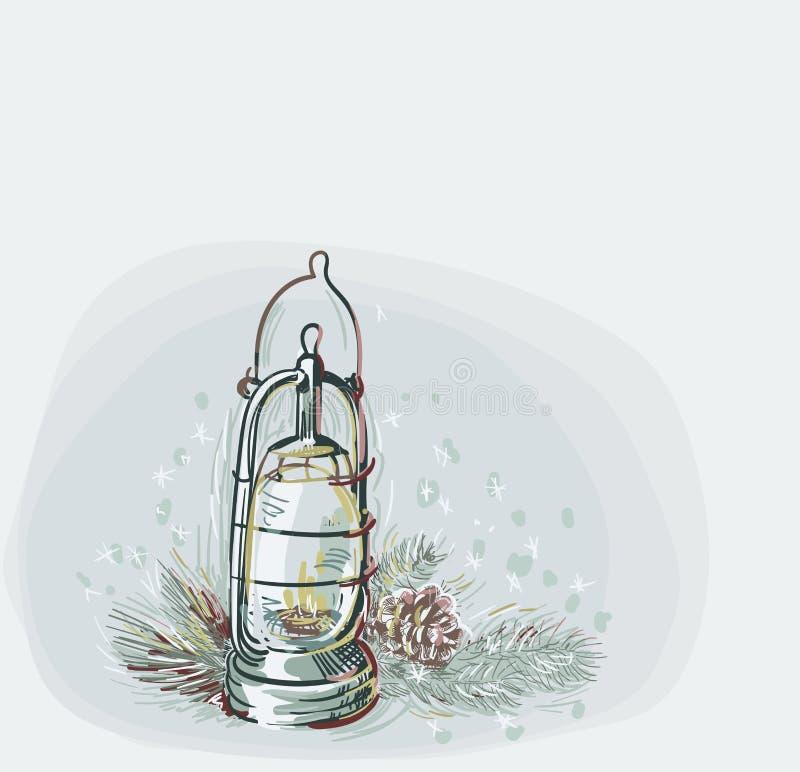 Estilo en colores pastel de la pintura del vector de los elementos del diseño del pino del cono de la lámpara de tarjeta de Navid libre illustration