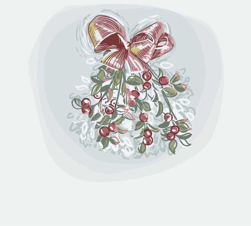 Estilo en colores pastel de la pintura del vector del muérdago de tarjeta de Navidad del color de fondo suave azul stock de ilustración