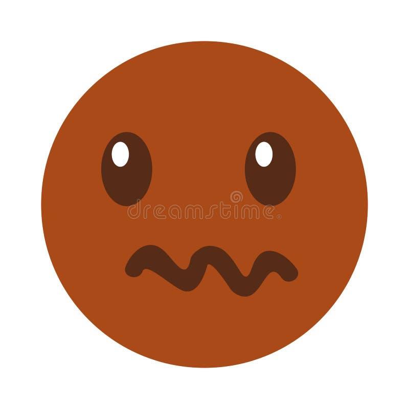 Estilo enojado del kawaii de la cara del emoticon stock de ilustración