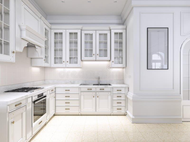 Estilo escandinavo clásico de la cocina de lujo, el panel de madera blanco con el tabletoop de mármol libre illustration