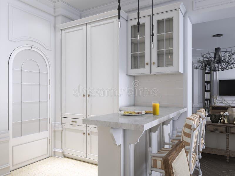 Estilo escandinavo clásico de la cocina de lujo, el panel de madera blanco con el tabletoop de mármol stock de ilustración
