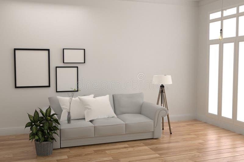 Estilo escandinavo interior da sala branca - sala moderna com sofá e o descanso brancos com lâmpada do quadro e plantas, assoalho ilustração royalty free