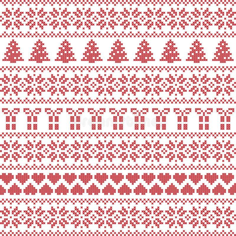 Estilo escandinavo, puntada nórdica del suéter del invierno, modelo de punto ilustración del vector