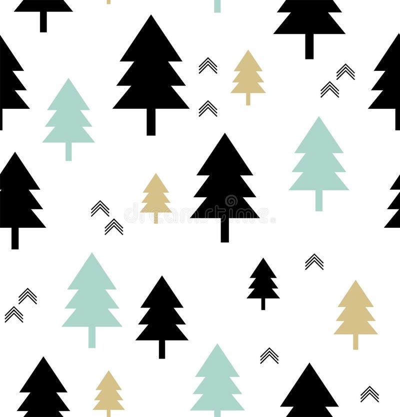 Estilo escandinavo Teste padrão sem emenda com árvores coníferas e setas ilustração royalty free