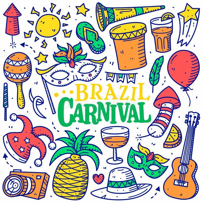 Estilo exhausto de la mano del garabato del carnaval del Brasil aislado imagen de archivo libre de regalías