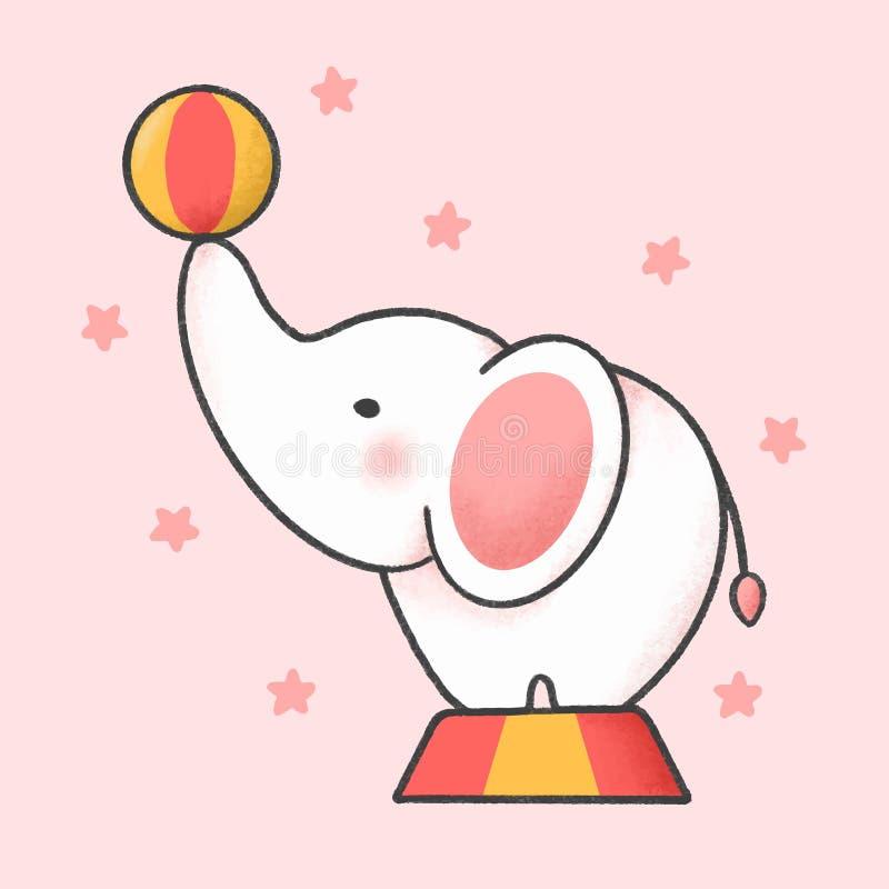 Estilo exhausto de la mano de la historieta del elefante del circo libre illustration