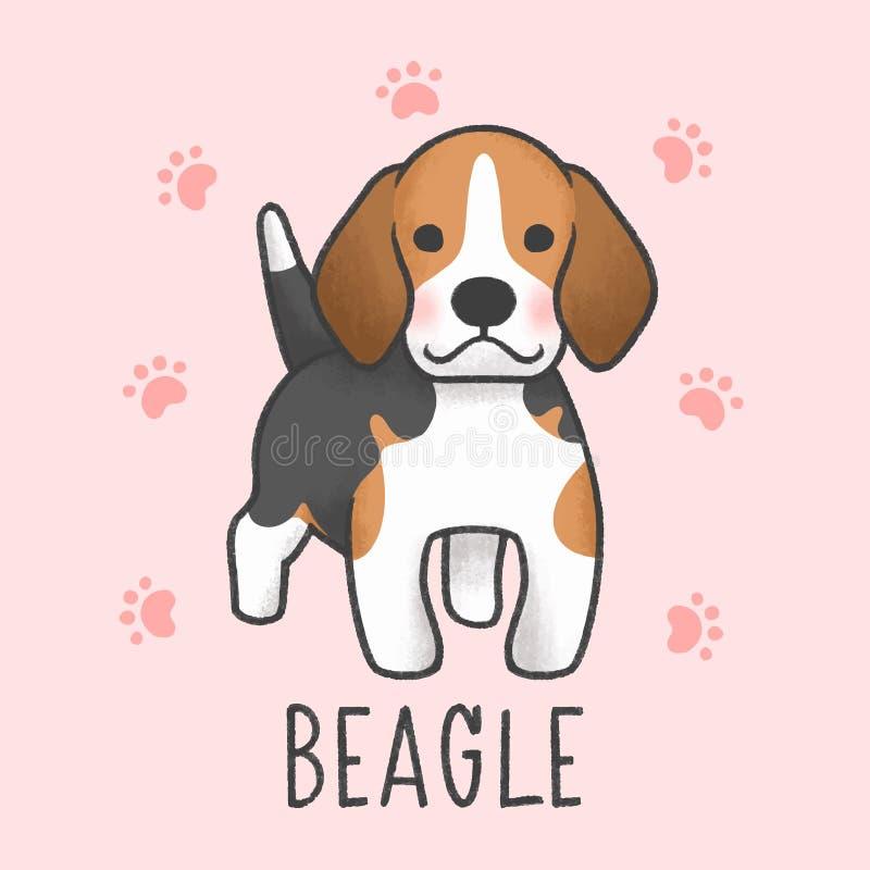 Estilo exhausto del beagle de la mano linda de la historieta ilustración del vector