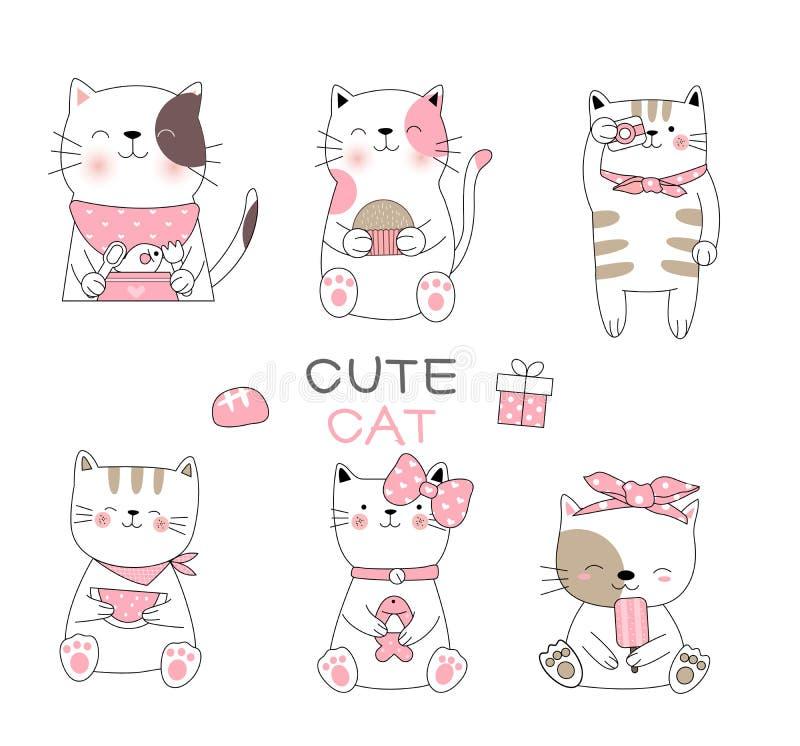 Estilo exhausto del bebé del gato de la mano linda de la historieta, para imprimir, tarjeta, camiseta, bandera, producto Vector stock de ilustración