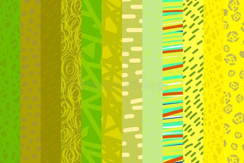 Estilo exhausto del catoon del fondo de la pendiente del collage de la mano amarilla del fondo ilustración del vector