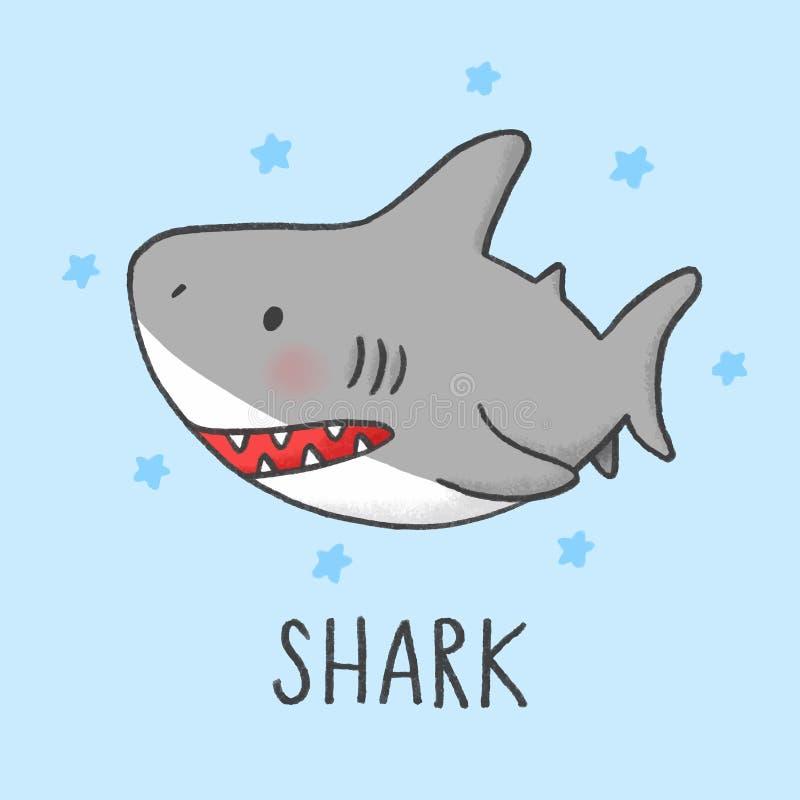 Estilo exhausto del tiburón de la mano linda de la historieta ilustración del vector