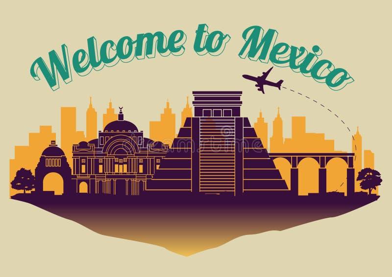 Estilo famoso da silhueta do marco de México na ilha, no curso e no turismo do flutuador ilustração royalty free