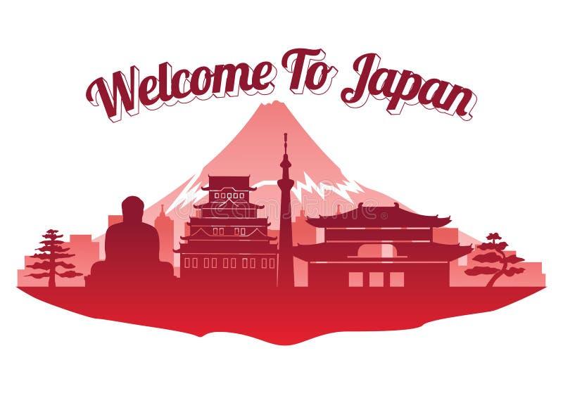Estilo famoso superior da silhueta do marco de Japão no estilo famoso da silhueta do marco da ilha, boa vinda a Japão, curso e tu ilustração stock