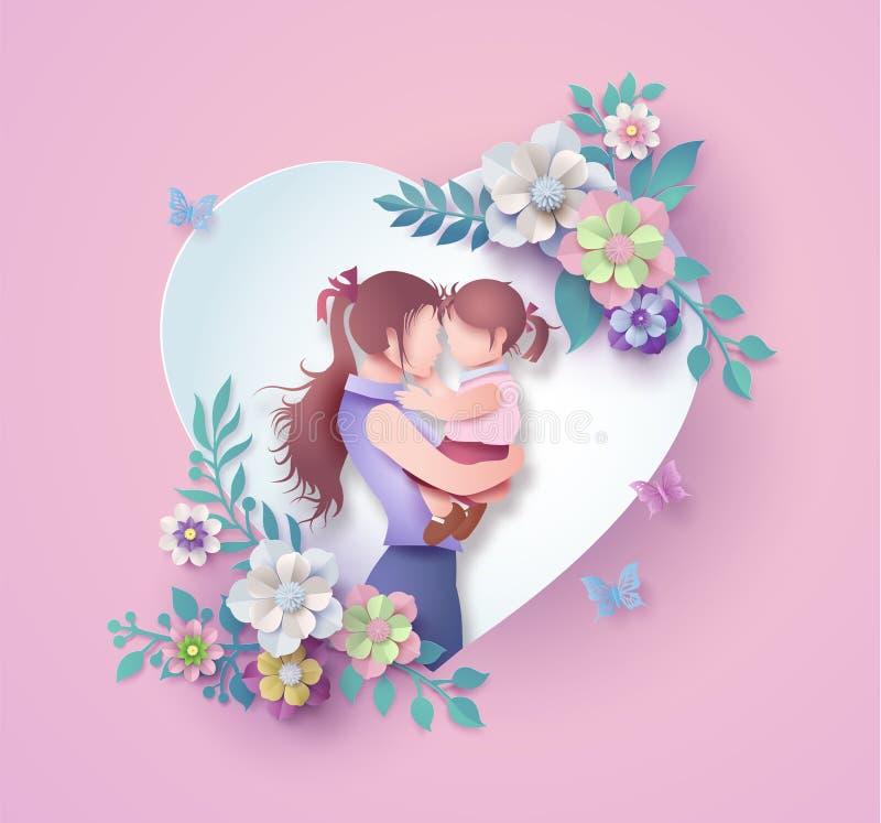 Estilo feliz da arte do papel do cartão do dia de mãe ilustração royalty free