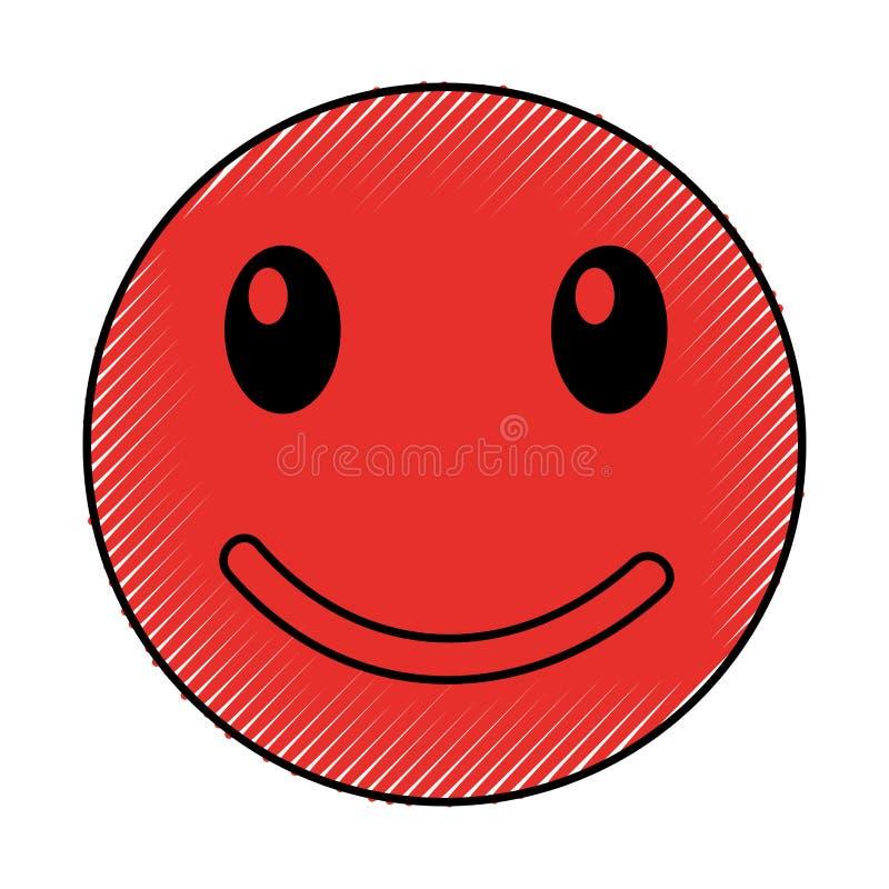 Estilo feliz del kawaii de la cara del emoticon libre illustration