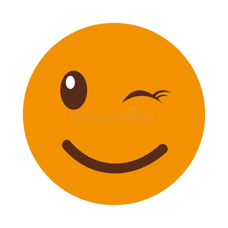 Estilo feliz del kawaii de la cara del emoticon stock de ilustración