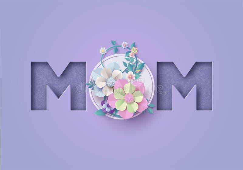 Estilo feliz do corte do papel do cartão do dia de mãe ilustração stock