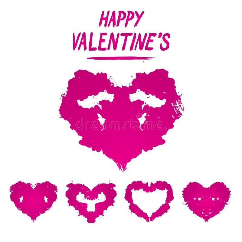 Estilo feliz do teste de Rorschach do cartão do ` s do Valentim detalhado ilustração royalty free