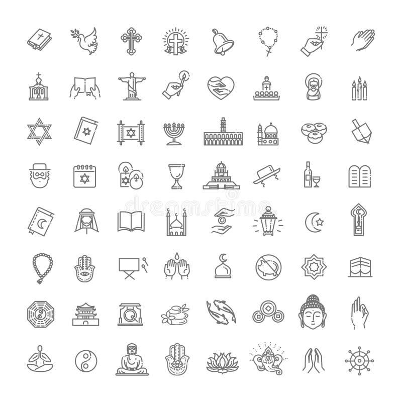 Estilo fino fijado iconos de la religi?n del vector Vector stock de ilustración