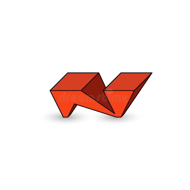 Estilo fresco de la juventud de la pintada de la letra del logotipo N, 3D forma geométrica isométrica, emblema de la maqueta para stock de ilustración