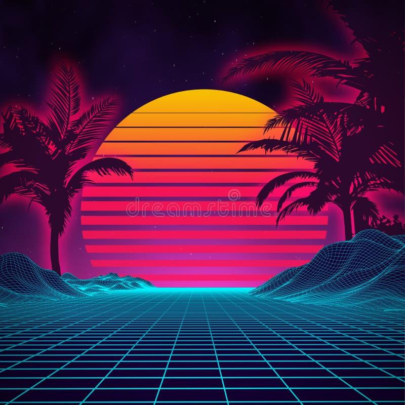 Estilo futurista de los años 80 del paisaje del fondo retro Superficie cibernética del paisaje retro de Digitaces fondo del parti libre illustration