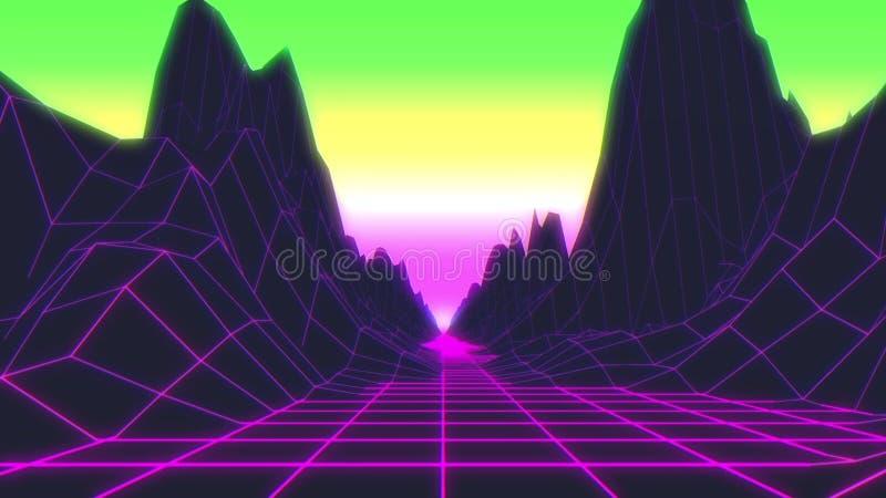 Estilo futurista retro dos anos 80 do fundo Paisagem de Digitas em um mundo do cyber ilustra??o 3D ilustração royalty free
