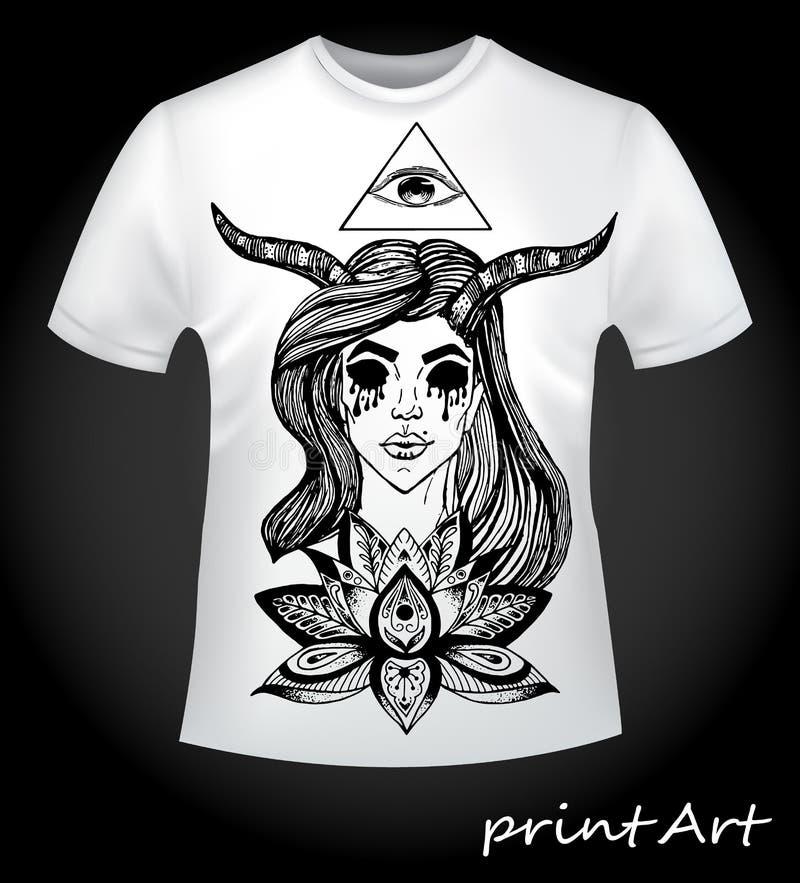 Estilo gótico - a ideia para uma cópia fresca em um t-shirt ilustração royalty free