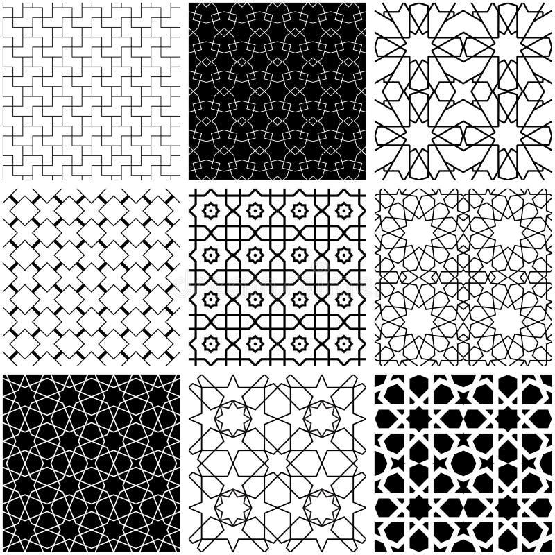 Estilo geométrico árabe en blanco y negro stock de ilustración