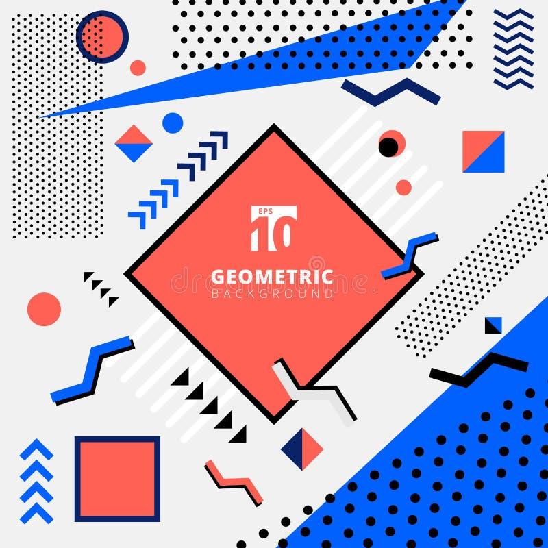 Estilo geométrico abstracto de Memphis del diseño del modelo para la moda en fondo colorido del tono libre illustration
