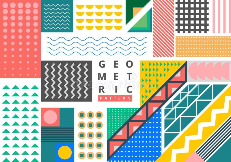 Estilo geométrico brillante de Memphis del modelo del paquete del extracto con el fondo del espacio de la copia Moda de moda 80-9 stock de ilustración