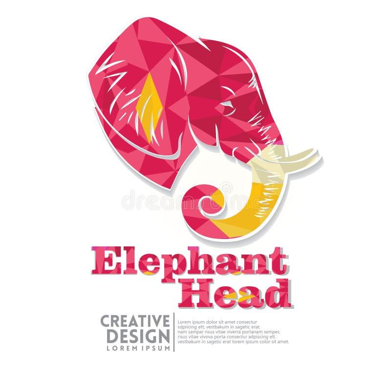 Estilo geométrico del arte de papel de la cabeza del elefante stock de ilustración