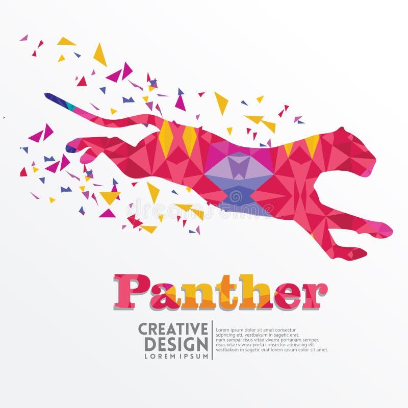 Estilo geométrico del arte de papel de la pantera libre illustration