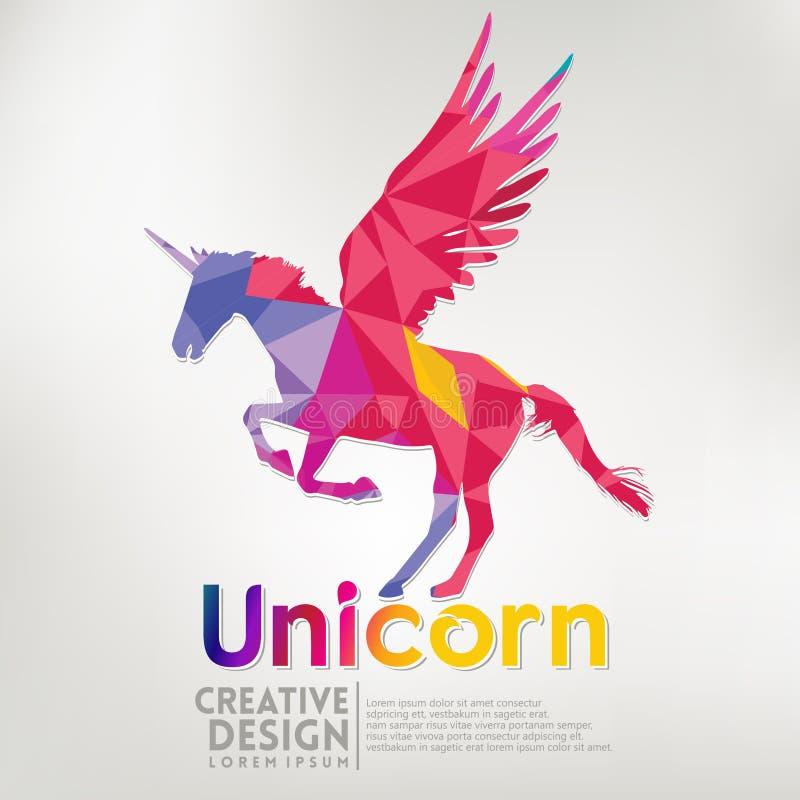 Estilo geométrico del arte de papel del unicornio Ilustración libre illustration