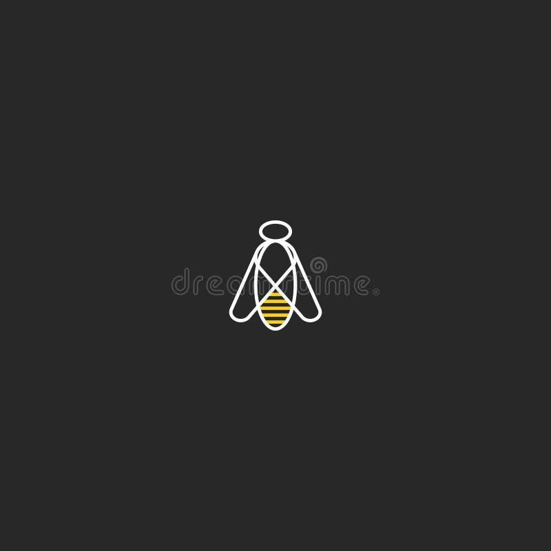 Estilo geométrico linear do moderno do modelo do logotipo da abelha Molde simples do elemento do projeto do lineart do inseto da  ilustração stock