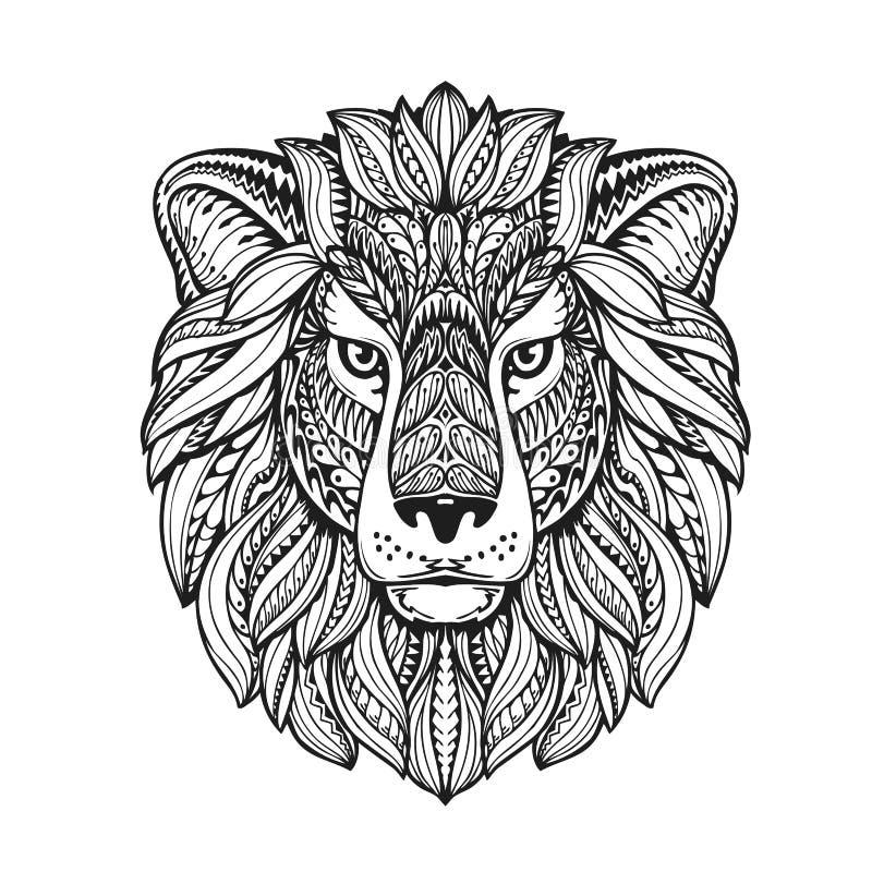Estilo gráfico étnico do leão com ornamento ervais e juba modelada Ilustração do vetor ilustração royalty free