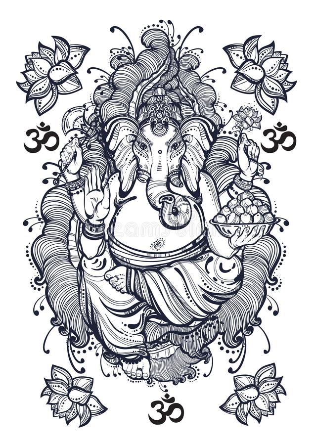 Estilo gráfico Lord Ganesha del vintage con los elementos florales hermosos Ejemplo de alta calidad del vector, arte del tatuaje, stock de ilustración