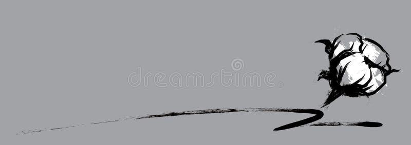 Estilo handdrawn da escova da flor do algodão ilustração stock