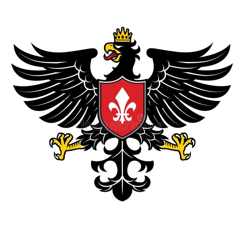 Estilo heráldico de Eagle com coroa ilustração royalty free