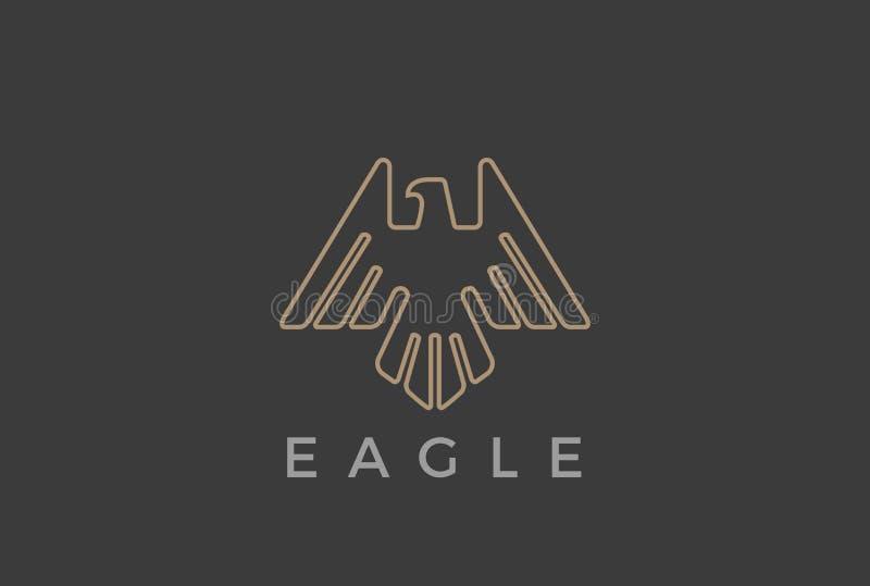 Estilo heráldico luxuoso linear do molde do vetor do projeto do logotipo do voo de Eagle Bird Ícone crescente do Logotype do esbo ilustração do vetor