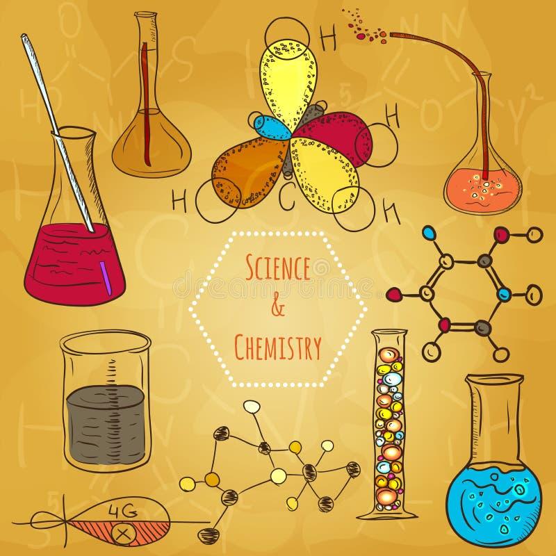 Estilo incompleto del fondo del vector del laboratorio de química de la ciencia stock de ilustración