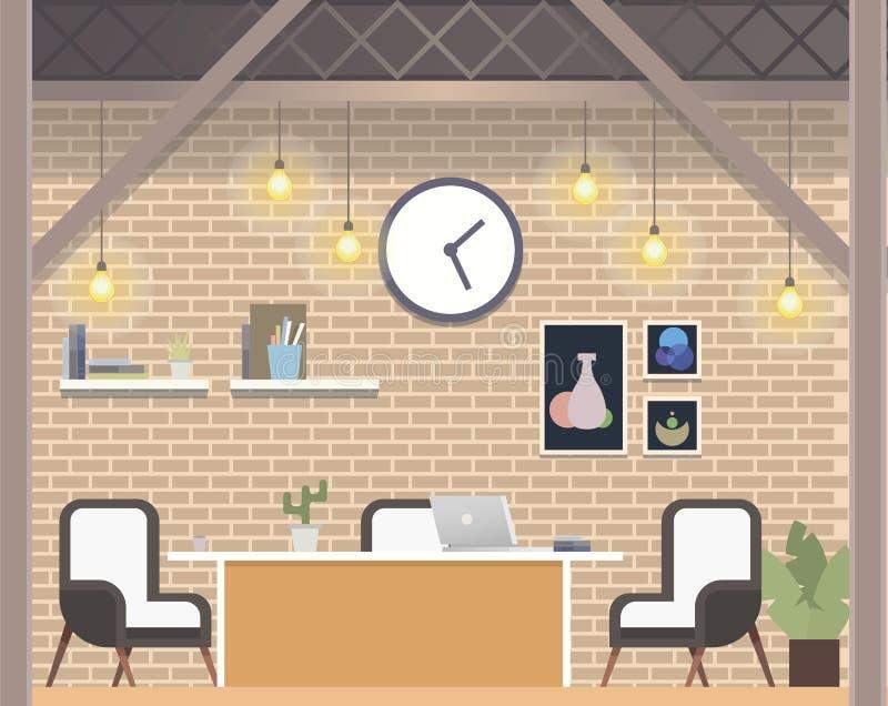 Estilo independiente moderno del desván del lugar de trabajo de Coworking ilustración del vector